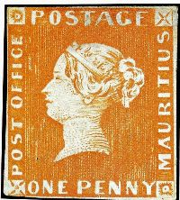 Red Penny Stamp Mauritius