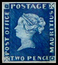 Blue Penny Stamp Mauritius